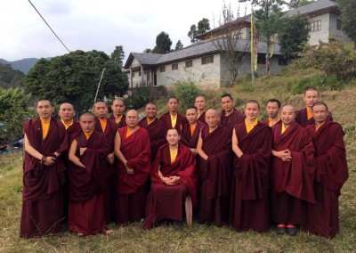 The three-year-retreat lamas with their retreat master Dupseng Rinpoche